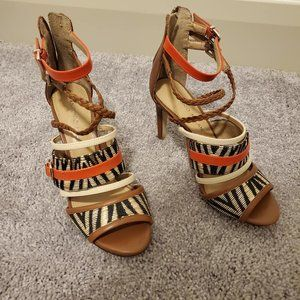 Antonio Melani - Orange Black Boho Pattern Heels